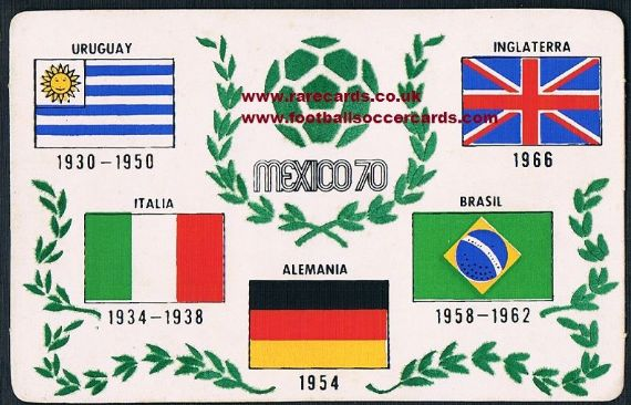 1970 Mexico World Cup felt flags postcard
